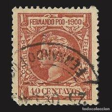 Sellos: FERNANDO POO 1900 ALFONSO XIII. 40CT. CASTAÑO AMARILLO.USADOEDIFIL Nº89.. Lote 143160262