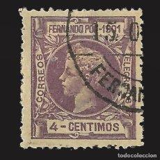 Sellos: FERNANDO POO 1901 ALFONSO XIII. 4C. LILA. USADO. EDIFIL Nº98.. Lote 143161634