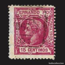Sellos: FERNANDO POO 1905 ALFONSO XIII. 15C.CARMÍN. USADO. EDIFIL Nº142 SCOTT Nº142. Lote 143462506