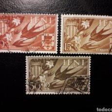Sellos: IFNI. EDIFIL 142/4. SERIE COMPLETA USADA. AYUDA A VALENCIA. ESCUDOS. FAUNA. AVES. GOLONDRINAS. 1958. Lote 144592022