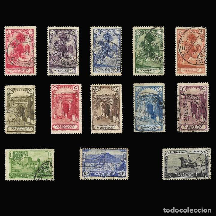 SELLOS ESPAÑA. . MARRUECOS 1928.PAISAJES Y MONUMENTOS.SERIE COMPLETA. USADO.EDIF.105-118 (Sellos - España - Colonias Españolas y Dependencias - África - Marruecos)