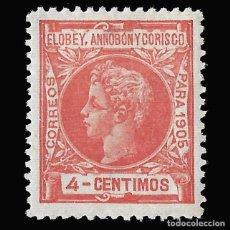 Sellos: ELOBEY ANNOBÓN CORISCO 1905.ALFONSO XIII. 4C.ROJO. NUEVO*. EDIF.Nº 22. Lote 145764694