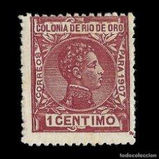Sellos: RÍO DE ORO. 1907. ALFONSO XIII. 1C.CARMIN OSC. NUEVO. EDIF. Nº18. Lote 145854382