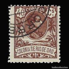 Sellos: RÍO DE ORO. 1909. ALFONSO XIII. 40C.CASTAÑO. USADO. EDIFIL Nº49. Lote 145945454