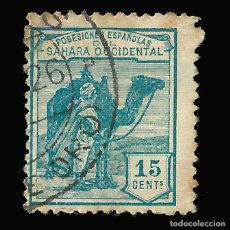 Sellos: SAHARA 1924.DROMEDARIO E INDÍGENA.15C.VERDE AZUL. USADO. EDIF. Nº 3. Lote 145946402