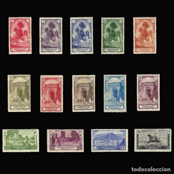 MARRUECOS 1928.PAISAJES Y MONUMENTOS.SERIE COMPLETA. NUEVO.EDIFIL.Nº105-118 (Stamps - Spain - Spanish Colonies and Dependencies - Africa - Morocco)