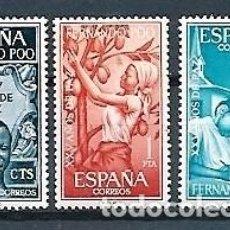Sellos: FERNANDO POO,1965,XXV AÑOS DE PAZ,EDIFIL 239-241. Lote 146664570