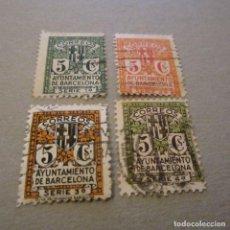 Sellos: BARCELONA. ESCUDO DE LA CIUDAD, 1932-35, EDIFIL Nº 9/12 MATASELLADO.. Lote 150039870