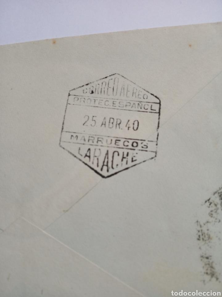 Sellos: Sobre correo aereo Larache.marruecos español.colonias españolas.matasello.franquista.filatelia.sello - Foto 2 - 150352516