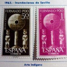 Sellos: SELLOS FERNANDO POO 1963 SERIE COMPLETA 2 VALORES AYUDA A SEVILLA. Lote 151551402