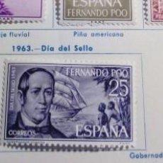 Sellos: SELLOS FERNANDO POO 1964 DÍA DEL SELLO DE 1963 SERIE COMPLETA 3 VALORES. Lote 151556242