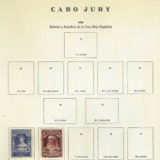 Sellos: CABO JUBY - LOTE DE SELLOS EN PAGINAS ANTIGUAS DE ALBUM - 5 HOJAS. Lote 151860430