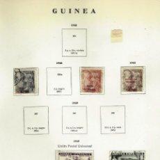 Sellos: GUINEA - LOTE DE SELLOS EN PAGINAS ANTIGUAS DE ALBUM - 15 HOJAS. Lote 151864630