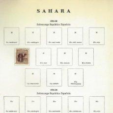 Sellos: SAHARA - LOTE DE SELLOS EN PAGINAS ANTIGUAS DE ALBUM - 19 HOJAS. Lote 151868566
