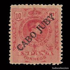 Sellos: CABO JUBY. 1919.SELLOS DE ESPAÑA.1876-1902-22. 10C. ROJO. Nº000,000. NUEVO* EDIF.Nº 8.. Lote 151870578