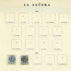 Sellos: LA AGÜERA - 2 SELLOS EN PAGINA ANTIGUA DE ALBUM - 1 HOJA. Lote 151870606