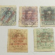 Sellos: LOTE 5 SELLOS ALFONSO XIII SOBRECARGADOS CORREO ESPAÑOL MARRUECOS O ZONA PROTECTORADO ESPAÑOL EN.... Lote 152475566