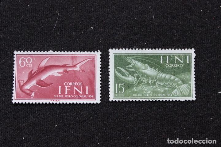 TIBURON Y BOGAVANTE. DIA DEL SELLO IFNI-1954 (Sellos - España - Colonias Españolas y Dependencias - África - Ifni)