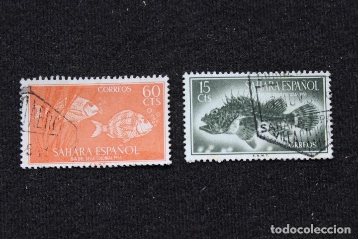 Sellos: 3 sellos Sahara Español Día del sello 1955. Fauna Peces y Orix - Foto 2 - 153704282