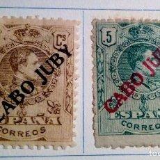 Sellos: 1919. 2 SELLOS DE ESPAÑA, 1876 Y 1902 – 1922. HABILITADOS CABO JUBY Nº 5 Y 6. Lote 155529830