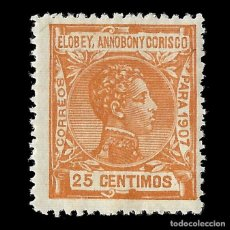 Sellos: SELLOS. ESPAÑA.ELOBEY ANNOBÓN CORISCO 1907.ALFONSO XIII. 25C.NARANJA. NUEVO*. EDIF.Nº 42. Lote 155592034
