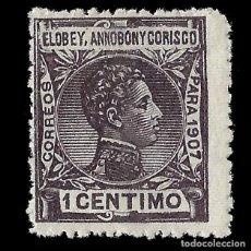 Sellos: SELLOS. ESPAÑA.ELOBEY ANNOBÓN CORISCO 1907.ALFONSO XIII. 1C.VIOLETA OSCURO. NUEVO**. EDIF.Nº 35. Lote 155593066
