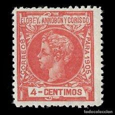 Sellos: SELLOS. ESPAÑA.ELOBEY ANNOBÓN CORISCO 1905.ALFONSO XIII. 4C.ROJO. NUEVO*. EDIF.Nº 22. Lote 155597706