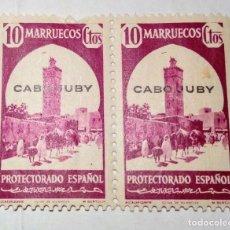 Sellos: 2 SELLOS 1940 DE MARRUECOS HABILITADOS CABO JUBY Nº 119. Lote 156561258