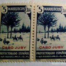 Sellos: 2 SELLOS DE MARRUECOS HABILITADO CABO JUBY 1940 Nº 118. Lote 156567366