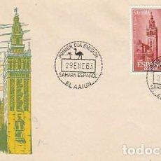Sellos: SAHARA EDIFIL Nº 215/6, AYUDA A SEVILLA (INUNDACIONES), PRIMER DIA DE 29-1-1963. Lote 157007982