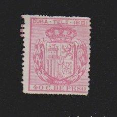 Sellos: CUBA TELÉGRAFOS 1881. ESCUDO DE ESPAÑA.40 C.DE PESO. EDIFIL Nº 53. Lote 157969322