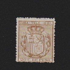 Sellos: CUBA TELÉGRAFOS 1881. ESCUDO DE ESPAÑA. 20 C.DE PESO. EDIFIL Nº 52. Lote 157970494
