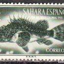 Sellos: SAHARA ESPAÑOL - UN SELLO - EDIFIL #110 -***FAUNA - PECES (SCORPIONFISH)***- AÑO 1953 - USADO. Lote 158894934