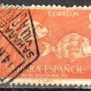 Sellos: SAHARA ESPAÑOL - UN SELLO - EDIFIL #111 -***ANIMALES - FAUNA (ZEBRA BREAM)***- AÑO 1953 - USADO. Lote 158895194