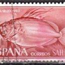 Sellos: SAHARA ESPAÑOL - UN SELLO - EDIFIL #224 -***FAUNA - PECES (JOHN DORY)***- AÑO 1964 - USADO. Lote 158896586