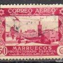 Sellos: MARRUECOS ESPAÑOL - UN SELLO - EDIFIL #190 -***AVIONES - PAISAJES***- AÑO 1938 - USADO. Lote 158898162