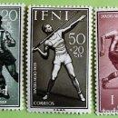 Sellos: IFNI. 156/58 DÍA DEL SELLO. DEPORTES: FÚTBOL Y LANZAMIENTO DE JABALINA. 1958. SELLOS NUEVOS Y NUMERA. Lote 160397526
