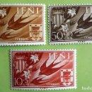 Sellos: IFNI. 142/44 AYUDA A VALENCIA: ESCUDOS DE VALENCIA E IFNI Y GOLONDRINA. 1958. SELLOS NUEVOS Y NUMERA. Lote 160398986