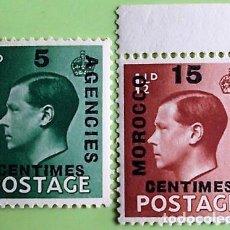 Francobolli: MARRUECOS. ZONA FRANCESA 37/38 SELLOS DE GRAN BRETAÑA DE 1936, EDUARDO VIII SOBRECARGADOS. SELLOS NU. Lote 160401590