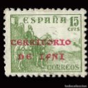 Sellos: SELLOS. ESPAÑA.IFNI 1941-1942.SELLOS ESPAÑA HABILITADOS.15C.VERDE. NUEVO*. EDIF.Nº5. Lote 160441166