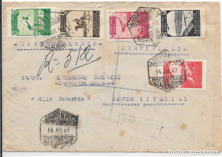 CORREO AEREO. SOBRE CIRCULADO DE ALCAZARQUIVIR A SAN REMO - ITALIA. 1947 (Stamps - Spain - Spanish Colonies and Dependencies - Africa - Morocco)
