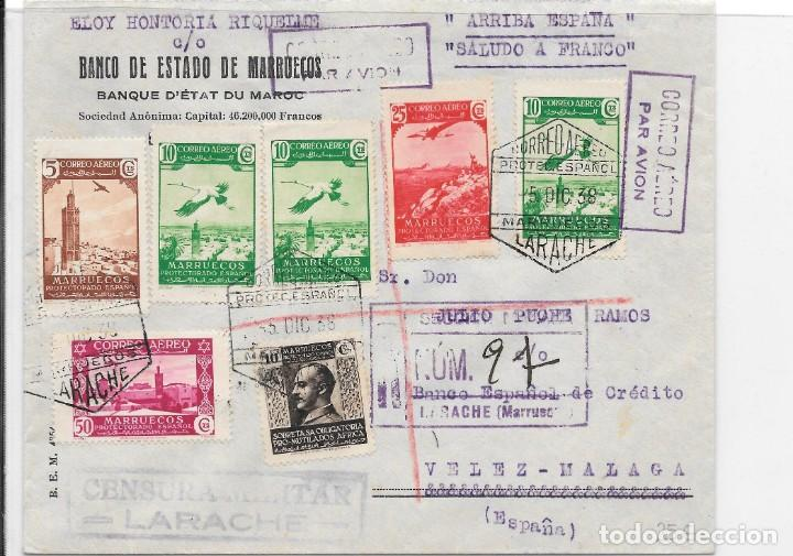 CORREO AEREO. CERTIFICADO CIRCULADO DE LARACHE A VELEZ MALAGA. 1938 (Sellos - España - Colonias Españolas y Dependencias - África - Marruecos)