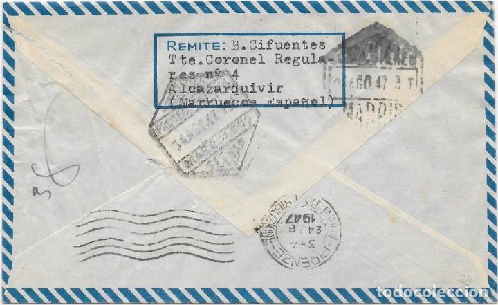 Stamps: CORREO AEREO. SOBRE CIRCULADO DE ALCAZARQUIVIR A FIRENZE - ITALIA. 1947 - Foto 2 - 160505046