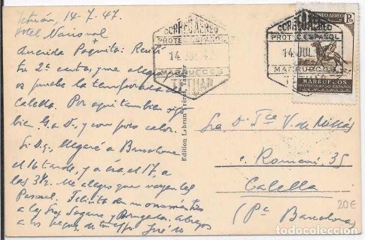 CORREO AEREO. TARJETA POSTAL CIRCULADA DE TETUAN A CALELLA. 1947 (Sellos - España - Colonias Españolas y Dependencias - África - Marruecos)