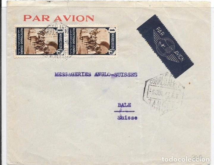 CORREO AEREO. SOBRE CIRCULADO DE TANGER A BALE - SUIZA. 1943 (Sellos - España - Colonias Españolas y Dependencias - África - Marruecos)