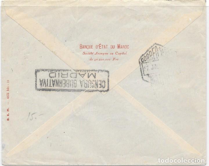 Sellos: CORREO AEREO. SOBRE CIRCULADO DE TANGER A BALE - SUIZA. 1943 - Foto 2 - 160507686