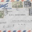 Sellos: CORREO AEREO. CERTIFICADO CIRCULADO DE TANGER A SPRINGFIELD - EEUU. 1950. Lote 160510762