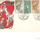 Sellos: IFNI PRO INFANCIA PRIMER DÍA CIRCULACIÓN 1957 CATALOGO EDIFIL Nº 145/148. Lote 160626742