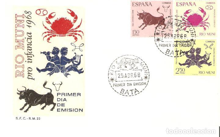 IFNI PRO INFANCIA PRIMER DÍA CIRCULACIÓN 1968 CATALOGO EDIFIL Nº 83/85 (Sellos - España - Colonias Españolas y Dependencias - África - Río Muni)