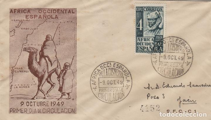 AFRICA OCCIDENTAL - LXXV ANIV U.P.U. 1949 ED Nº 1 - SOBRE /SPD PRIMER DIA CIRCULADO S.F.C . RARO (Sellos - España - Colonias Españolas y Dependencias - África - África Occidental)